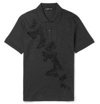 Alexander Mcqueen Lim Fit Embroidered Cotton Pique Polo Hirt Gray