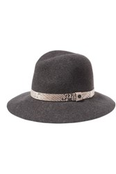 Rag And Bone Eather Trimmed Woo Fet Fedora Dark Gray