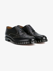 Valentino Studded Leather Brogues Black Silver
