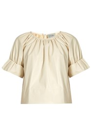 Rachel Comey Vidal Short Blouson Sleeved Faux Leather Top Ivory