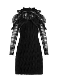 Self Portrait Purl Knit Lace Cut Out Shoulder Dress Black