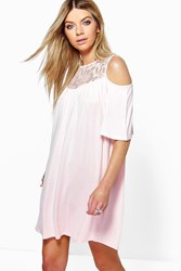 Boohoo Lace Cold Shoulder Swing Dress Nude