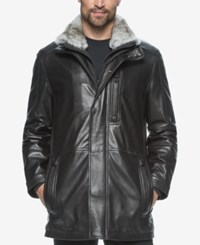 Marc New York Men's Middlebury Leather Coat With Fur Collar Black