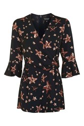 Topshop Star Print Playsuit Navy Blue