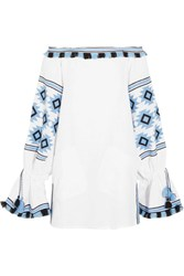 March11 Geometry Off The Shoulder Embroidered Linen Mini Dress White