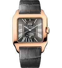 Cartier Santos Dumont 18Ct Pink Gold And Leather Watch