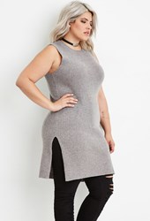 Forever 21 Plus Size Ribbed Knit Tunic Grey
