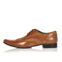 River Island Mens Brown Leather Woven Formal Shoes