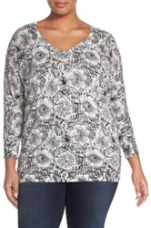 Sejour Floral Print V Neck Cotton Knit Top Plus Size Multi