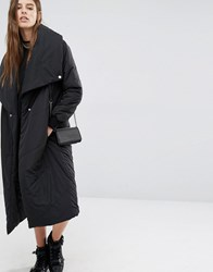 Religion Padded Maxi Trench Coat Black