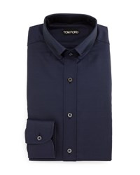 Tom Ford Button Down Collar Solid Shirt Blue