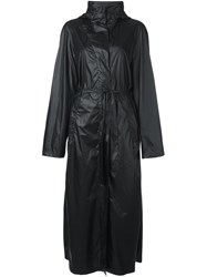 Ann Demeulemeester Hooded Belted Long Coat Black