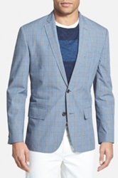 Wallin And Bros Trim Fit Plaid Cotton Sport Coat Blue