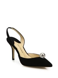 Paul Andrew Aw Jewel Suede Slingbacks Black