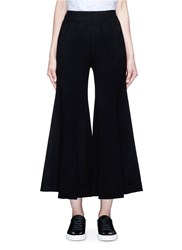Xiao Li Flare Leg Felted Wool Blend Pants Black