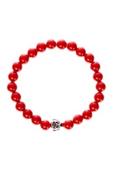 Jean Claude Smiling Buddha Charm Red Coral Bead Stretch Bracelet