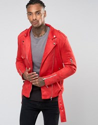 Sixth June Suedette Biker Jacket Red