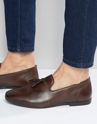 Asos Tassel Loafers In Brown Washed Leather Brown