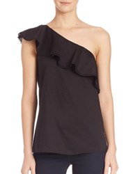 Theory Damarill Silk One Shoulder Blouse White Black