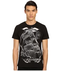 Just Cavalli Pirate Ship Graphic Short Sleeve Tee Black Men's Short Sleeve Pullover