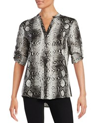 Karl Lagerfeld Patterned Button Front Shirt Grey Snake