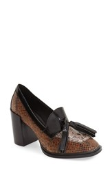 Jeffrey Campbell Women's 'Harper' Tassel Loafer Pump Brown Black Leather