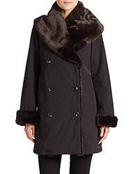 Jane Post Faux Fur Shawl Collar Coat Black Brown