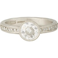 Malcolm Betts Women's Diamond And Hammered Platinum Ring Silver