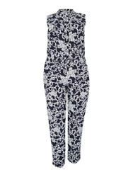Persona Floral Sleeveless Jumpsuit With Shirt Collar Black