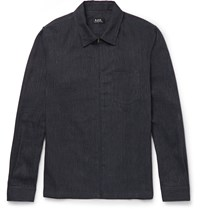 A.P.C. Cotton And Linen Blend Zip Through Shirt Jacket Blue