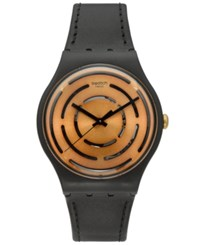 Swatch Unisex Swiss Power Tracking Black Leather Strap Watch 41Mm Suob126