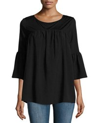 French Connection Polly Plains Fluted Sleeve Top Black