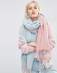 Asos Oversized Long Woven Scarf In Colour Block Boucle Green