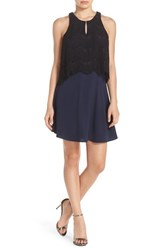 Charles Henry Women's Lace Popover Swing Dress Navy Black