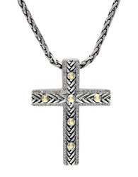 Effy Balissima Sterling Silver And 18K Yellow Gold Cross Pendant Necklace With Diamonds