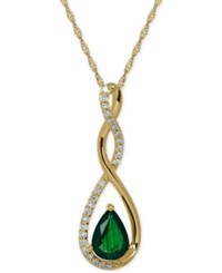 Macy's Birthstone And Diamond 1 10 Ct. T.W. Pendant Necklace In 14K White Or Yellow Gold Green