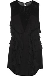 Isabel Marant Rowina Silk Chiffon And Cotton Mesh Mini Dress Black