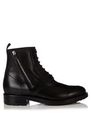 Saint Laurent Rangers Leather Ankle Boots Black