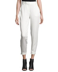 Dkny Tailored Stretch Crepe Cropped Pants Gesso
