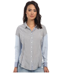 Free People Rayon Oxford Stripe Captetown Button Down Chambray Combo Women's Short Sleeve Button Up Blue