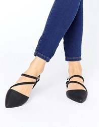 Call It Spring Nespolo Strap Detail Point Flat Shoes Black Synthetic