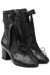 Valentino Leather Ankle Boots With Grosgrain Ribbon Black