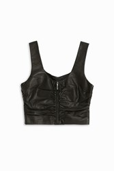 Alexander Wang Cropped Ruched Leather Top Black