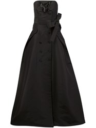 Carolina Herrera Button Detailing Strapless Gown Black