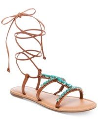 Madden Girl Kalipsoo Lace Up Embellished Sandals Women's Shoes Cognac