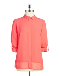 T Tahari Button Front Blouse Hot Lava
