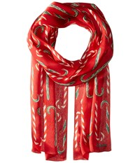 Echo Candy Cane Forest Silk Oblong Ruby Scarves Red