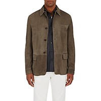 Luciano Barbera Men's Chevron Suede Shirt Jacket Grey