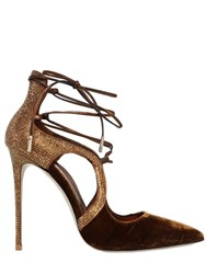 Le Silla 110Mm Swarovski And Velvet Lace Up Pumps