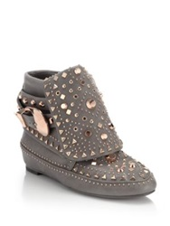 Ivy Kirzhner Adobee Studded Leather Moccasin Booties Grey